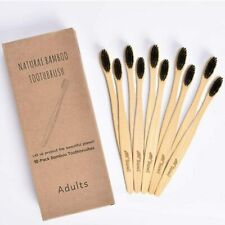 Suwi Bamboo Toothbrush with Soft Charcoal Bristles Set of 10 Eco Friendly Toothb