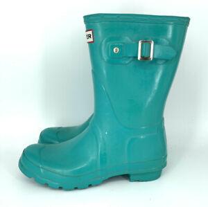 hunter boots Womens 7 short rainboots green gloss 020310 Waterproof Slipon Shoe