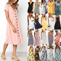 Women Floral Print Buttons Swing Midi Dress Party Summer Beach Holiday Sundress