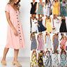 Womens Boho Button Swing Midi Dress Summer Strappy Casual Beach Holiday Sundress