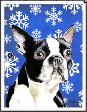 Caroline's Treasures Outdoor House Flag Boston Terrier Winter Snowflakes 28X39