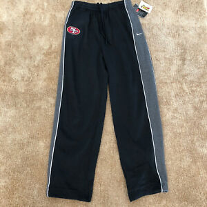 NEW Nike San Francisco 49ers Sweatpants Boys L 16-18 Black with Gray Stripes