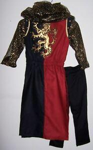 BOY'S RENAISSANCE COSTUME Medieval Warrior Red/Black Gold-Mesh Hood HUGE DRAGON