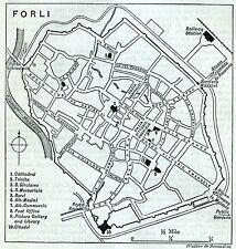 Pianta di Forlì. Carta Topografica,Geografica. Stampa Antica + Passepartout.1891