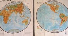 More details for huge pair of vintage soviet government globe maps of the world each 100x91cm