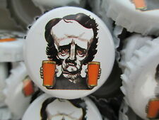 100 Poe ((( White ))) Raven Brewing Beer Bottle Caps (No Dents). Free Shipping