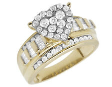 Ladies 10K Yellow Gold Heart Cluster Baguette Real Diamond Engagement Ring 1.0ct