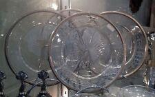 4 assiettes en cristal cerclées argent minerve