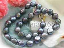 "HUGE 17"" 12-14mm baroque peacock black freshwater PEARL NECKLACE"