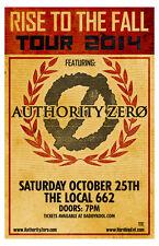 Authority Zero original concert poster 11x17 rare limited 2014 tour print