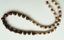 "AFRICAN ETHNIC INSPIRED MENS 20"" SURFER CREAM BROWN ACRYLIC WOOD BEAD NECKLACE"