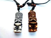 Tribal Yak Bone Carved Tiki Man Totem Necklace Pendant Totem Luau Hula Surf Girl