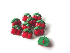 10 x Red Cherry Shaped Buttons - Approx 15mm