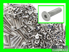 STAINLESS STEEL Countersunk Allen Bolts, Nuts & Washers. 200 Pack. Socket Caps