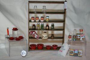 Miniature Dollhouse Wood Shelf w 35 Pc Kitchen Pantry Food Pots Pans Glass Jars