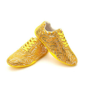 Leather Tai Chi Kung Fu Shoes Martial Arts Wushu Sneakers Karate Trainers Yellow
