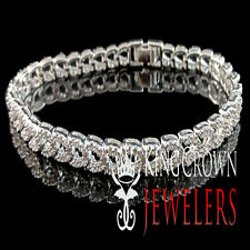 WOMENS 14K SOLID WHITE GOLD OVER REAL 925 STERLING SILVER 1 ROW TENNIS BRACELET