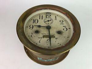 WW2 Era US NAVY Brass Seth Thomas Ships Clock Maritime Engine Room