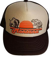Montana Buffalo Bear  Brown Tan Snapback Mesh Trucker Hat Cap