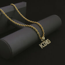 """Men 14k Gold Plated Hip-Hop ( KING LETTERS ) Pendant 24"""" Rope Chain Necklace NP"""