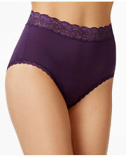 "Size 9 Vanity Fair SILKY Briefs Panties Flattering Lace 13281 ""Blackberry"" NEW"