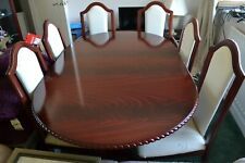 Extending Dining table and 6 chairs mahogany effect / cream covered chairs used