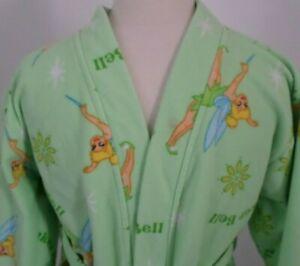Walt Disney Princess Kids Bathrobe Size M (6/7) Tinkerbell Green