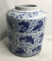 Vintage Porcelain Ginger Jar Chinoiserie Blue Koi And White With Defect NO LID