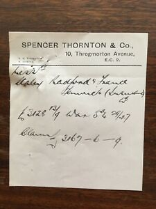 1923/4 Items relating to War Stock purchase, London