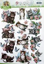 A4 Die Cut 3d Paper TOLE Decoupage Push out Sheet Sweet Cat Collection Kitten