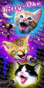 NEW Kitty Oke Meow Karaoke Galaxy Kitten Velour Beach Pool Souvenir 30 X 60