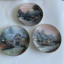 3 Vintage Thomas Kinkade Collector Series Limited Edition Cottage Plates