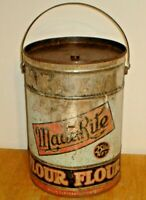 Vintage Made Rite Flour 25 lb. Country Store Tin / Metal Can w/ Lid & Handle