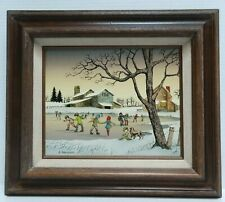 H. Hargrove Children Ice Skating on Pond 8 x 10 Oil Canvas w/ 15 x 13 Wood Frame