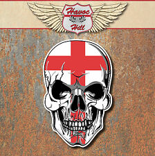 SKULL ENGLAND FLAG LAMINATED STICKERS x2 60x39mm St Georges cross decals