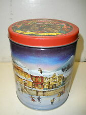 "Lenell shortbread cookies tin 1 pound lb Christmas skating scene 6"" tall"
