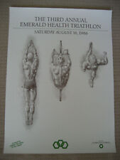 1986 The Third Annual Emerald Health Triathlon Poster Ohio Chapter S.G. Atkinson
