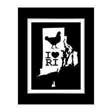 Rhode Island State 4 (BLACK) - Matted for 11x14 Frame