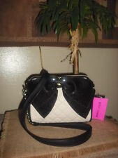 BETSEY JOHNSON BLK/CRM SEQUIN BOW QUILTED CROSSBODY PURSE BAG SOLD OUT POSH! NWT