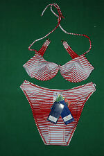 Vintage CONTE OF FLORENCE bikini ricamo Swim wear Suit 42 BNWT NOS floreal lycra