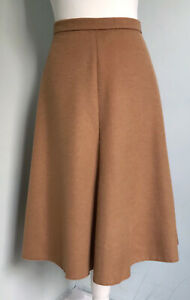 M&S Camel Soft Wool Blend Flared Skirt UK 14 Classic Swishy Career Work Winter