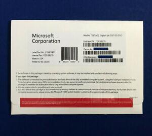 Authentics Windows 7 Pro Professional SP1 32 bit DVD and Product key