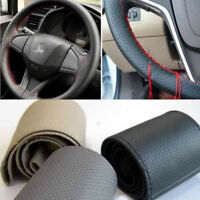 DIY Leather Car Steering Wheel Cover Protector Car Needles Red Thread 38cm 15""