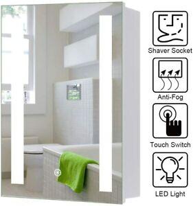 Led Illuminated Bathroom Mirror Cabinet With Shaver Socket Demister Touch Sensor