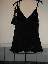NEW LADIES SIZE 10-12 BLACK /SEQUIN BABY DOLL &THONG night wear