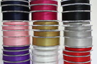 25 METRES DOUBLE SIDED SATIN RIBBON 6mm, 10mm, 16mm, 25mm, 38mm various colours