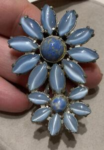 vintage lt. blue glass double flower dress clip