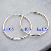 Women's 925 Sterling Silver Classic Small Endless Thin Hoop Earrings H3Q-20MM