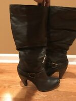 Diba Leather Knee High Boots, Brown, Size 8.5