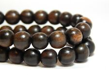 54 8mm Natural Tiger Ebony Wood Beads Wooden Round Nature Dark Brown D-P11